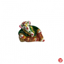 Ganesh allongé en aluminium peint à l'émail vert (h3.5cm)