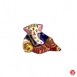 Ganesh allongé en aluminium peint à l'émail bleu (h4.5cm)