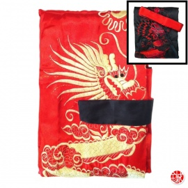 Kimono long réversible BROdé rouge DRAGON doré / noir DRAGON rouge (TU)