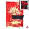 Kimono long réversible BROdé rouge DRAGON doré / noir DRAGON rouge (TU)