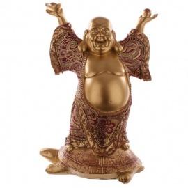 Bouddha HOTEi sur tortue en résine et tissus rouge et or (h22.5cm)