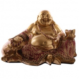 Bouddha HOTEi assis avec lingot en résine et tissus rouge et or (h12cm)