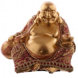 Bouddha HOTEi assis avec wulu en résine et tissus rouge et or (h9cm)