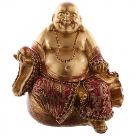 Bouddha HOTEi assis sur bourse (Prospérité et richesse) en résine et tissus rouge et or (h13cm)