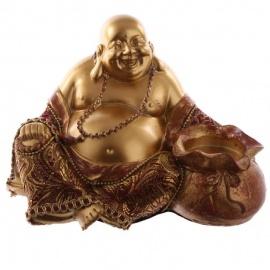 Bouddha HOTEi assis (Prospérité) en résine et tissus rouge et or (h10.5cm)