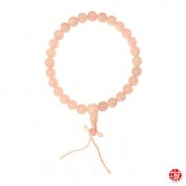 Bracelet mālā en quartz rose 27 perles de 8mm