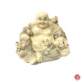 Bouddha Hotei aux enfants en ivoirine (h11cm)