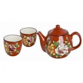 Service à thé 3 pièces ROUGE fleurs peints à la main