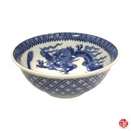 Bol à soupe DOUBLE DRAGONS blanc bleu en porcelaine japonaise (d18.5cm)