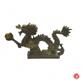 Dragon sur socle nuage en bronze (h12cm)