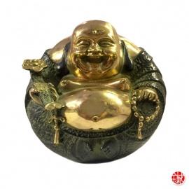 Bouddha Hotei rond en bronze (h14cm)