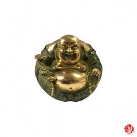 Bouddha Hotei rond en bronze (h7cm)