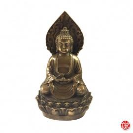 Bouddha AMiTA assis sur lotus en bronze (h14cm)