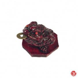 Chan'chu (蟾蜍 crapaud de la richesse) sur octogramme en résine marron (h5.5cm)