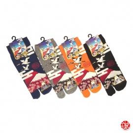 Soquettes à orteil japonaises FUJi, GRUES et CERiSiERS (extensible t39 à t44)