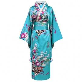 Kimono imprimé FLEURS avec noeud bleu turquoise