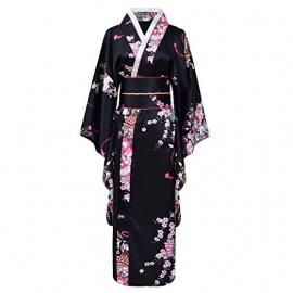 Kimono imprimé FLEURS avec noeud noir