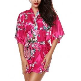 Kimono court satiné imprimé FLEURS & PAON fushia (90cm)