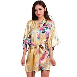 Kimono court satiné imprimé FLEURS & PAON jaune orangé (90cm)
