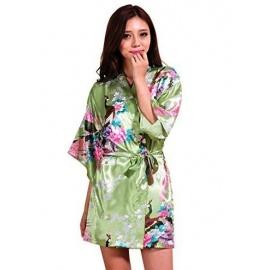 Kimono court satiné imprimé FLEURS & PAON vert anis (90cm)