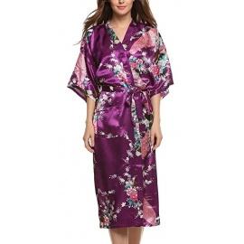 Kimono long satiné 2 poches imprimé FLEURS & PAON violet (120cm)