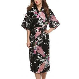 Kimono long satiné 2 poches imprimé FLEURS & PAON noir (120cm)
