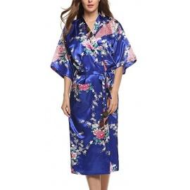 Kimono long satiné 2 poches imprimé FLEURS & PAON bleu roi (120cm)