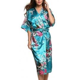 Kimono long satiné 2 poches imprimé FLEURS & PAON bleu turquoise (120cm)