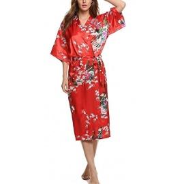 Kimono long satiné 2 poches imprimé FLEURS & PAON rouge (120cm)