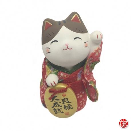 Maneki Neko YUKATA rouge en argile blanche (h10cm)