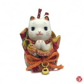 Maneki Neko PRièRE dans une POChETTE en porcelaine japonaise h6.5cm