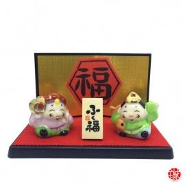 Dieux du bonheur en porcelaine japonaise (h2.4cm)
