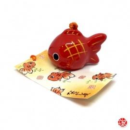Carillon à vent japonais (風鈴 fuurin) en porcelaine KiNGYO poisson rouge (h4.5cm)