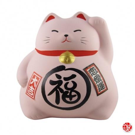 Tirelire Maneki neko DODU en argile blanche ROSE (Amour) h8cm