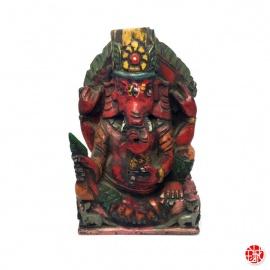 Ganesh assis en bois sculpté main (h12.5cm)