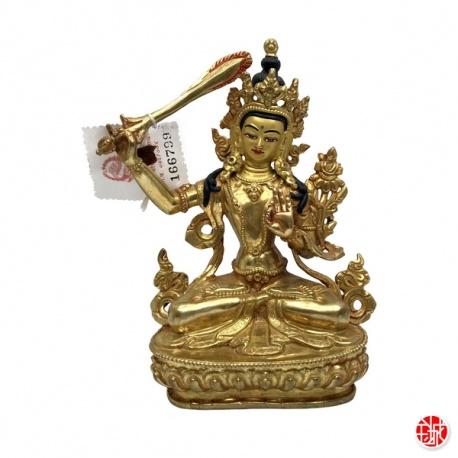 Bouddha MANjUShRi en cuivre (h15.5cm)