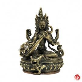 Lakshmi assise sur lotus en laiton (h16)