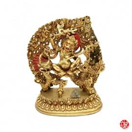 Kubera assis sur un dragon en cuivre (h12)