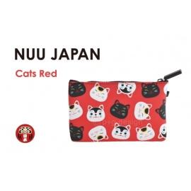Trousse en silicone NUU JAPAN rouge Maneki Neko 17.5*11cm