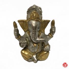 Ganesh en laiton couleur bronze et doré (h12cm)