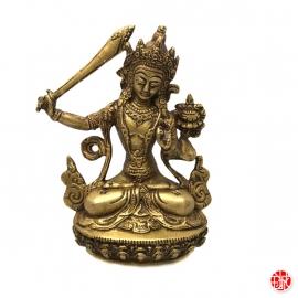 Bouddha Manjushri en laiton (h15cm)
