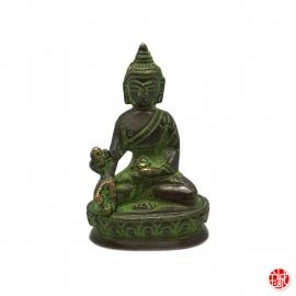 Bouddha MédECiNE en laiton vert-de-gris (h8cm)