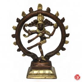 Shiva Nataradja en laiton couleur bronze et or (h18.5cm)