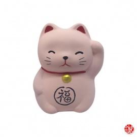 Maneki neko RONd-RONd ROSE en argile blanche (h5cm)