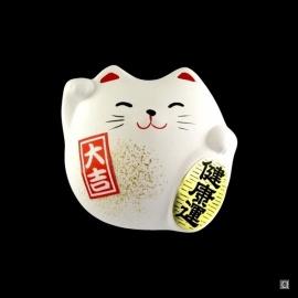 Maneki neko DODU en argile blanche BLANC (Bonheur) 5.5cm