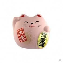 Maneki neko DODU en argile blanche ROSE (Amour) 5.5cm