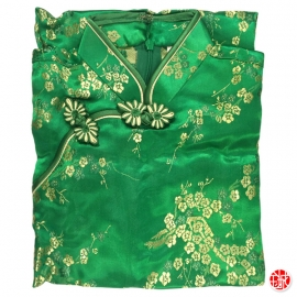 Robe chinoise (qipao 旗袍) enfant VERT motif 3 AMiS OR