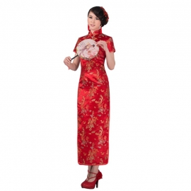 Robe chinoise (qipao 旗袍) longue ROUGE motif DRAGON et PhOENiX (100% polyester)