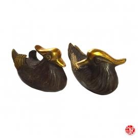 Couple de canards mandarins (Fidélité 鸳鸯 Yuānyāng) en bronze (L13.5cm)