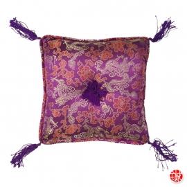 Coussin 20x20cm brocard DRAGONS violet (20x20cm)